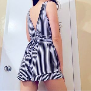 Zara Black and White Striped Romper Jumpsuit Small